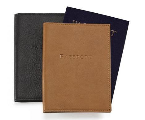 Monogrammed Traditional Leather Passport Holder