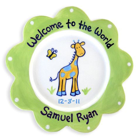 Personalized Giraffe Plate (Boy)