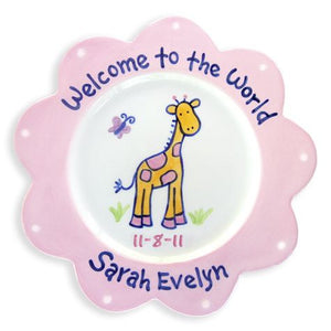 Personalized Giraffe Plate (Girl)