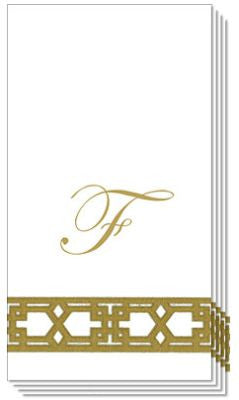 Monogrammed Gold Lattice Caspari Guest Towels