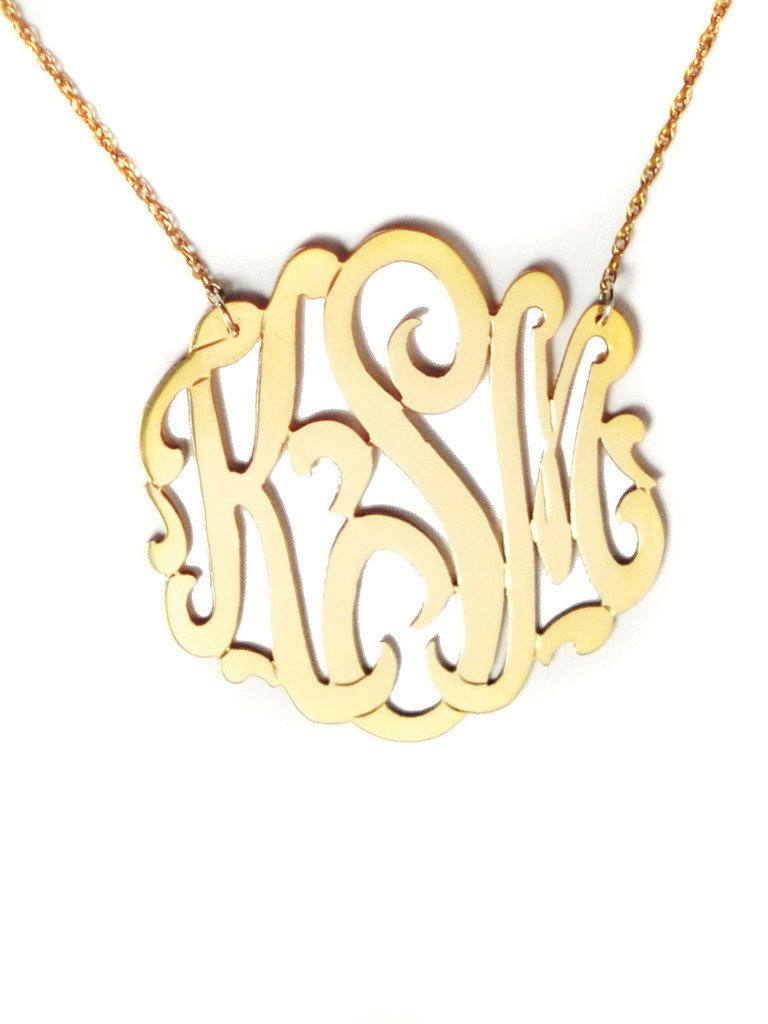 14K Gold Cheshire Handcut Monogram Necklace