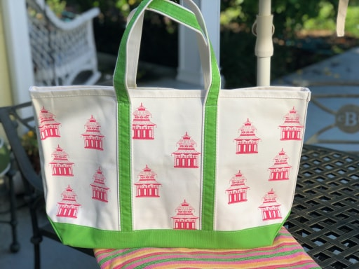 Pink Pagoda Green Strap Classic Tote
