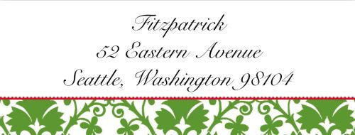 Green Damask Address Label