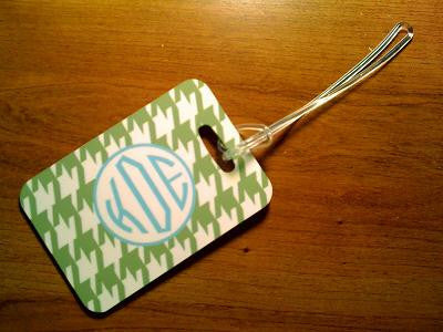Monogrammed  Luggage Tag in Green Houndstooth
