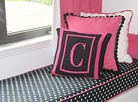 Pillow with Initial & Double Border (thin inner)