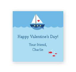 Heart Sailboat Square Sticker