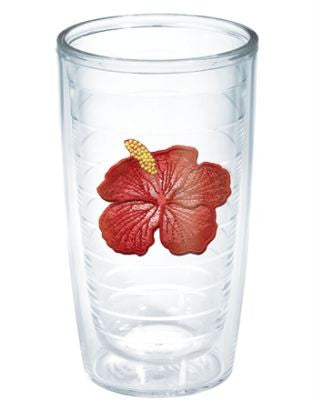 Monogrammed Hibiscus Red Flower Tervis Tumbler