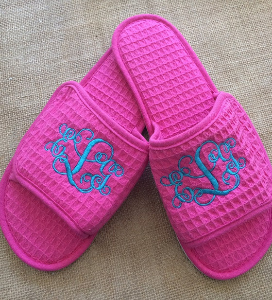 Monogrammed Hot Pink Waffle Slippers