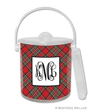 Plaid Red Monogrammed Lucite Ice Bucket