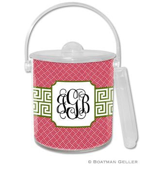 Greek Key Band Olive Monogrammed Lucite Ice Bucket