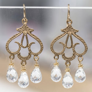 Crystal Teardrops on Bronze Earrings