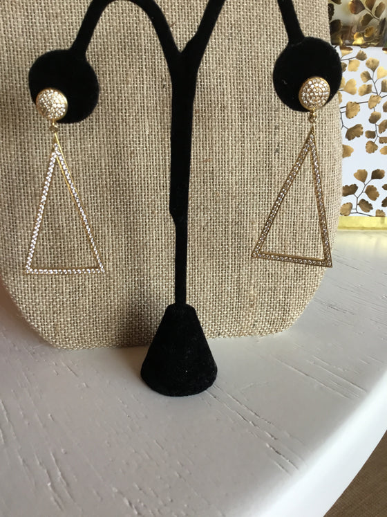 Triangle Pave CZ Earrings