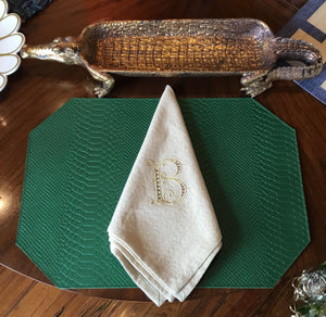 Kelly Green Leather Python Placemats