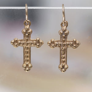 Bronze Dotted Cross Earring