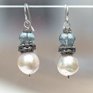 Blue Quartz with Rhinestone Pearl Earrings