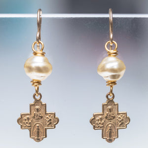 Baroque Pearl with Bronze Tiny Cross