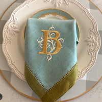 Sea Glass & Gold Napkin Set of 4