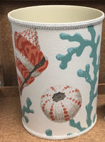 Sea Shells Turquoise Coral Waste Basket