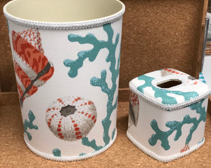 Sea Shell Turquoise Coral Tissue Box Cover