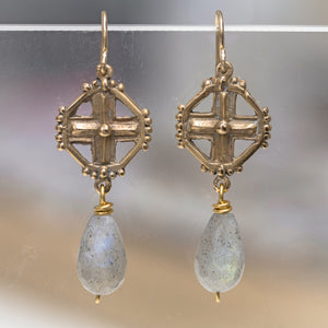 Enclosed Cross with Labradorite Earring