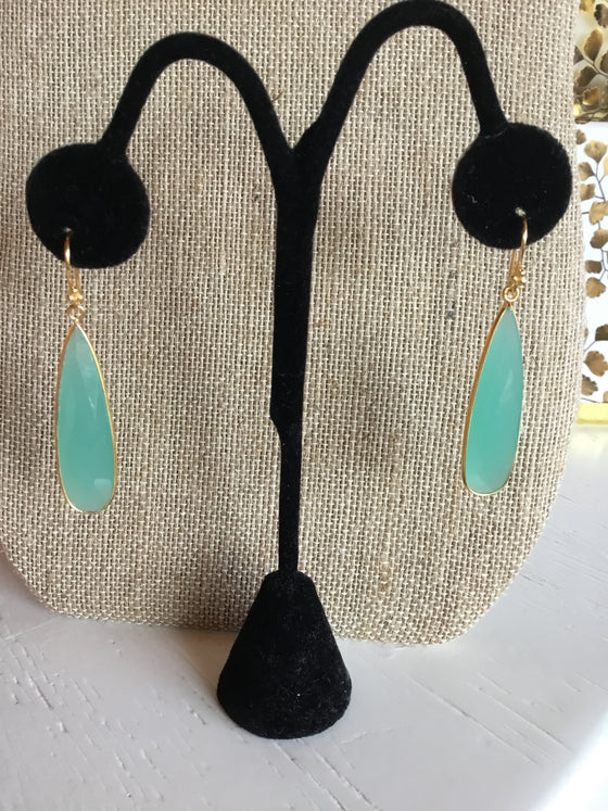 Chalcedony Long Earrings