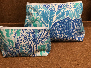 Blue/Green Coral Green Cosmetic Bag
