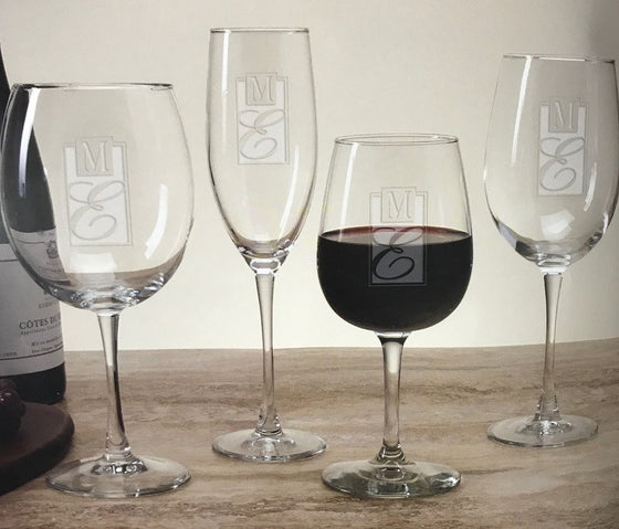 Monogrammed Lyrica Wine Glasses