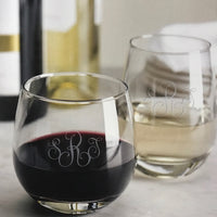 Monogrammed Sham Stemless Wine Glasses