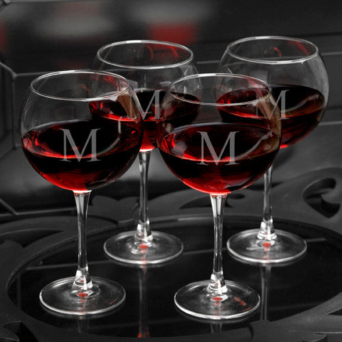 Single Initial Red Wine Glasses