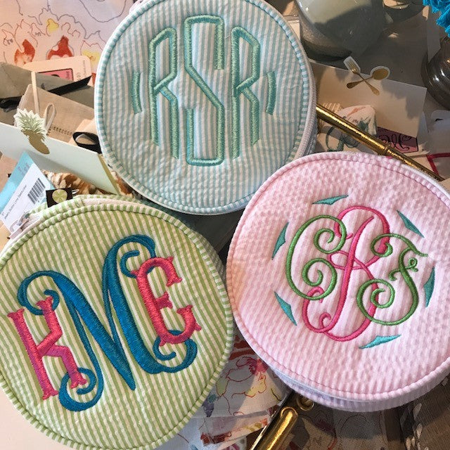 "Monogrammed 6"" Seersucker Jewelry Button"