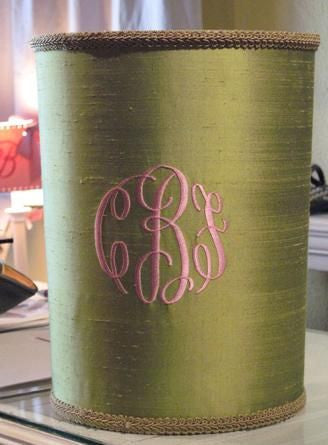 Silk Monogrammed Waste Basket