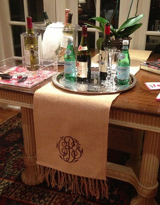 Monogrammed Jute Table Runner