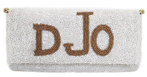 Elegant Monogram Beaded Clutch