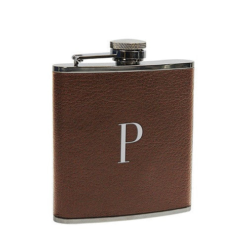 Chestnut Leather Wrapped Single Initial Flask