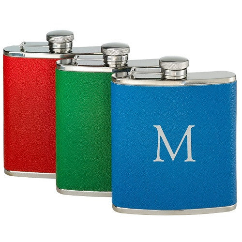 Single Initial Leather Wrapped Flask