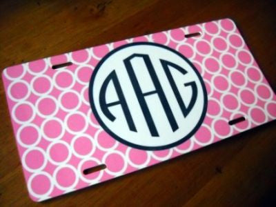 Monogrammed Hot Pink Mod Circle License Tag