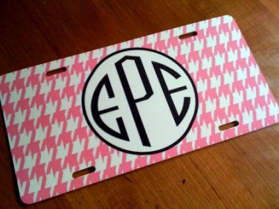 Monogrammed Pink Houndstooth License Tag