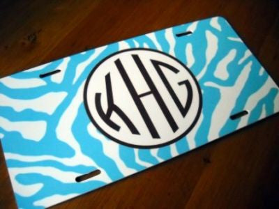 Monogrammed Blue Zebra Print License Tag