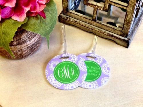 Custom Lily Pad Pair of Round Luggage Tags