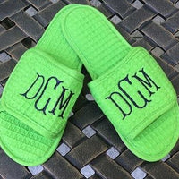 Monogrammed Lime Green Waffle Slippers