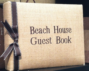 Natural Linen Beach House Guest Book