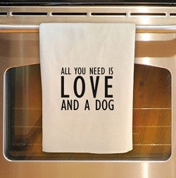 Love and Dog Tea Towel