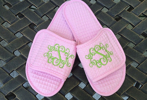 Monogrammed Light Pink Waffle Slippers