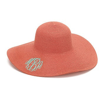 Coral Monogrammed Sun Hat