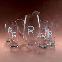 Monogrammed Opera Pitcher & Glass Set