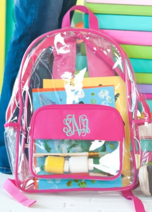 Monogrammed Hot Pink Clear Backpack