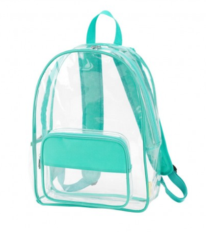 Monogrammed Mint Clear Backpack