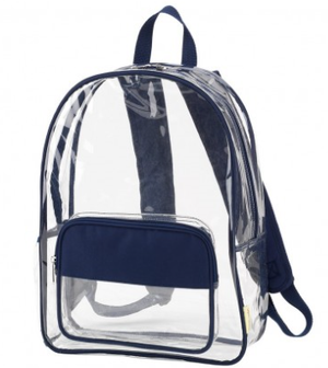 Monogrammed Navy Clear Backpack