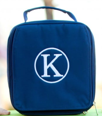 Monogrammed Navy Lunch Box