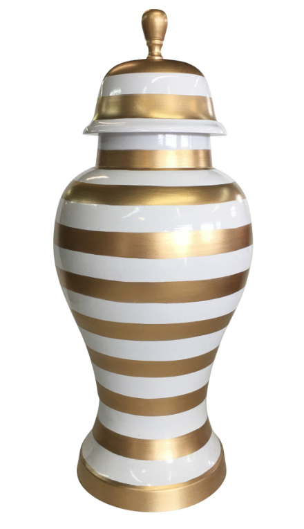 Gold Stripe Ginger Jars by Dana Gibson